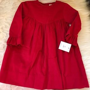 Red Corduroy Long Sleeve Petit Ami Dress